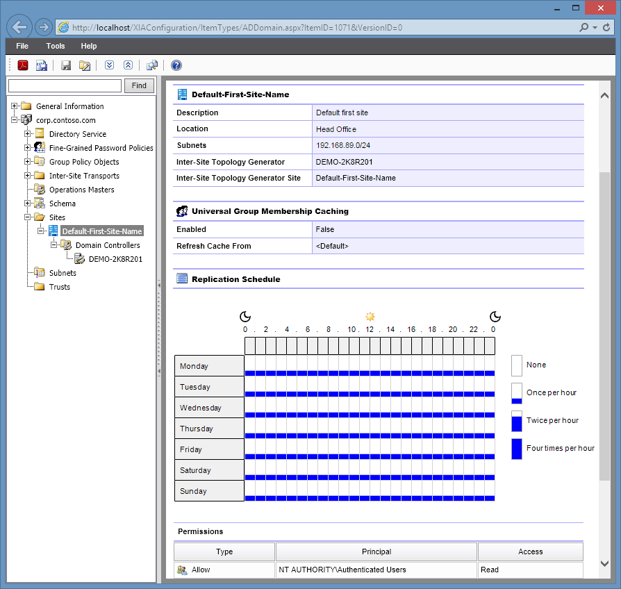 XIA Configuration Server screenshot of an Active Directory site