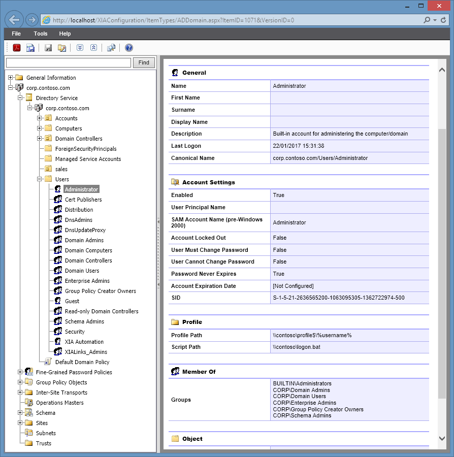 XIA Configuration Server screenshot of Active Directory user information