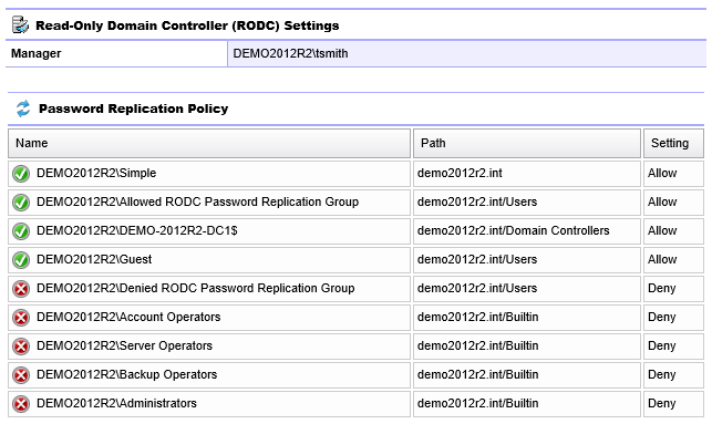 Screenshot of RODC settings and password replication policy in the XIA Configuration web interface