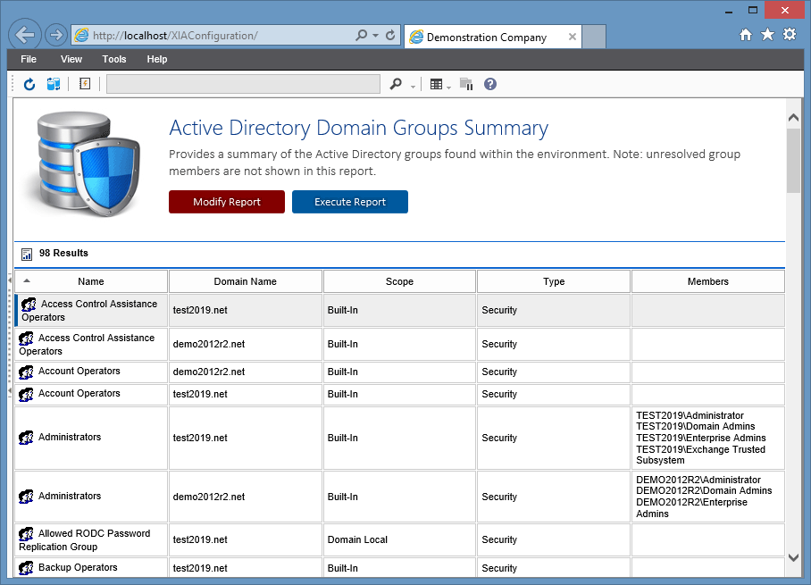XIA Configuration Server screenshot showing the Active Directory domain group summary report output