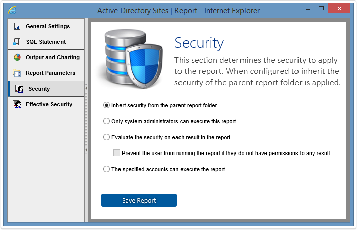 Report security screenshot