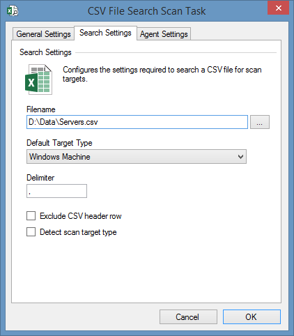 CSV search settings