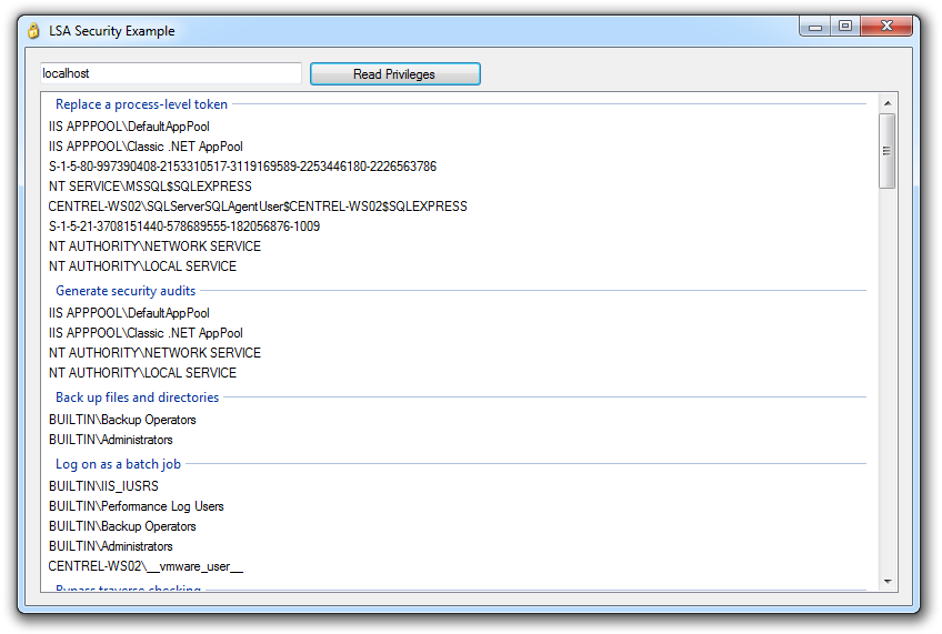 Screenshot showing user rights assignment in a sample application written by CENTREL Solutions