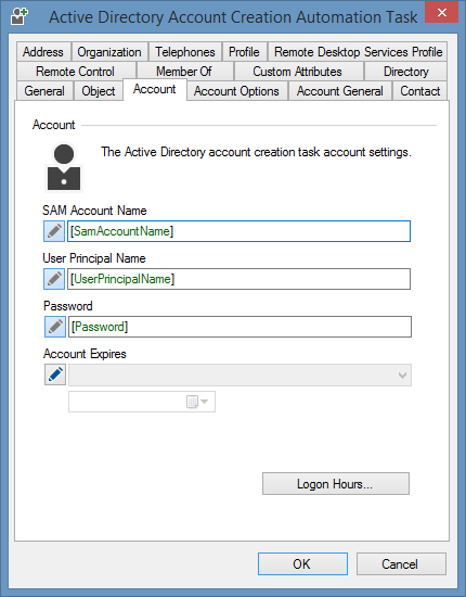 Active Directory user account creation task