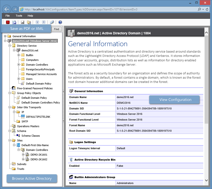 Screenshot of Active Directory general information in the XIA Configuration web interface