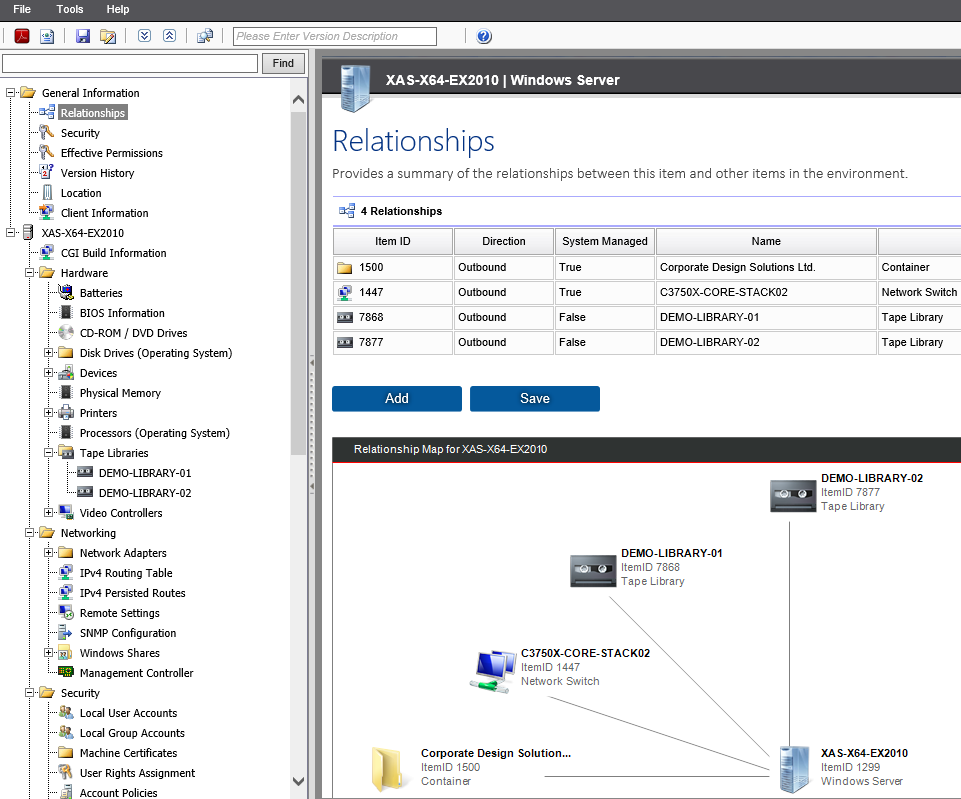 Tape library relationships screenshot