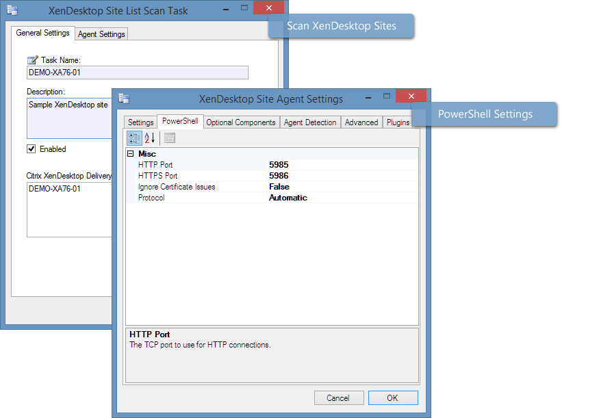 Screenshot showing Citrix XenDesktop scan settings in the XIA Configuration Client