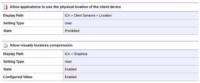 Screenshot of XenDesktop policy settings in the XIA Configuration web interface