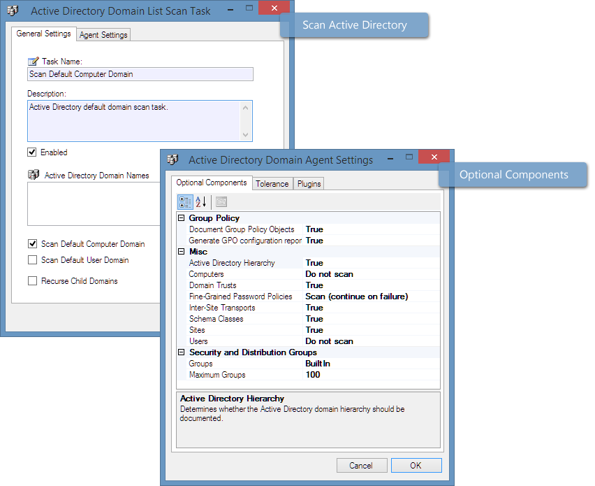 Screenshot of Active Directory scan settings in the XIA Configuration Client