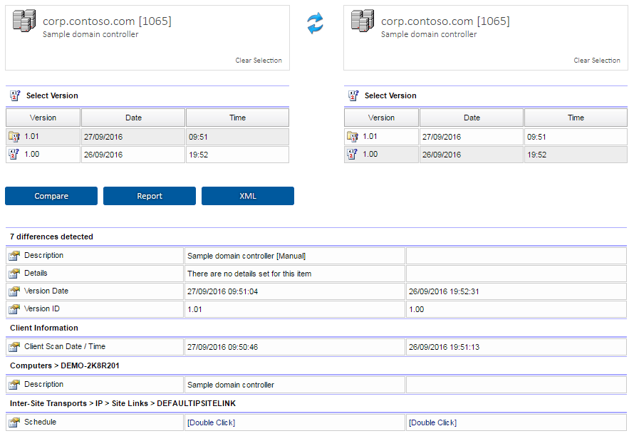 Screenshot showing the comparison of the latest version with the previous version
