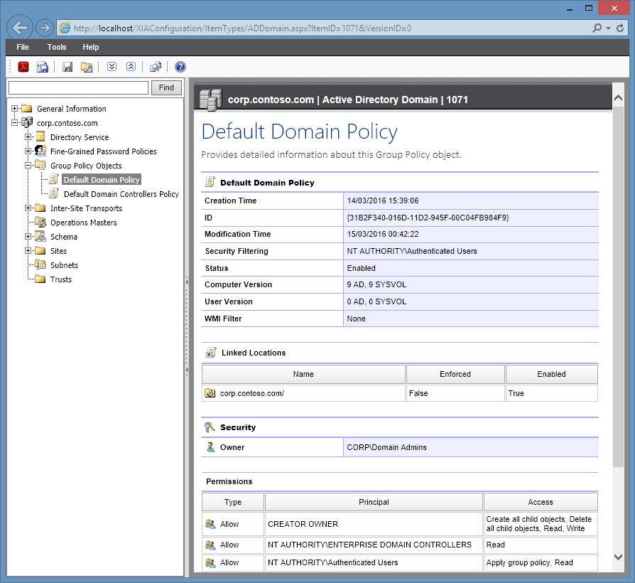 Screenshot of group policy object information in the XIA Configuration web interface