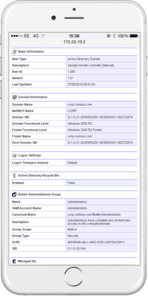 Screenshot showing Active Directory domain and group policy object configuration on a mobile device