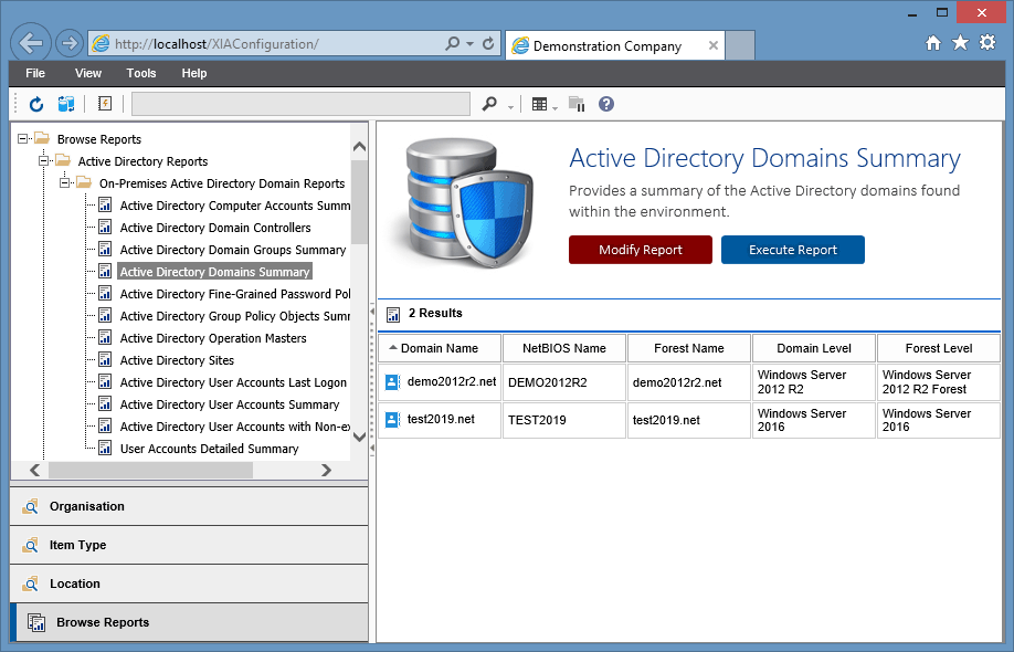 Screenshot showing the Active Directory reports in the XIA Configuration web interface
