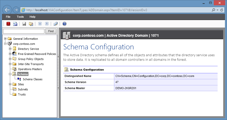 Screenshot of schema configuration in the XIA Configuration web interface