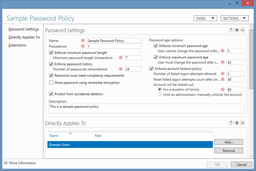 Sample password policy in Microsoft Windows