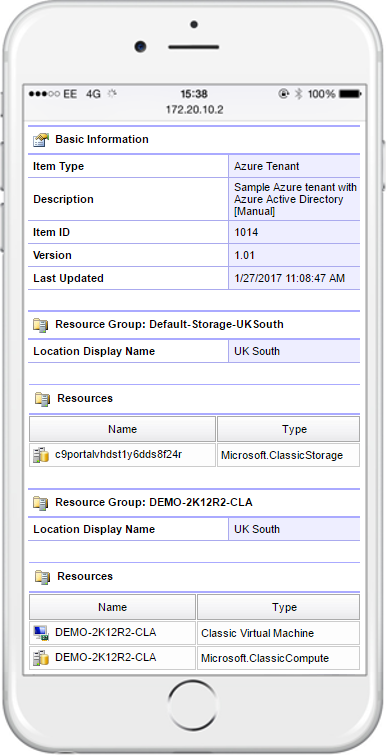 Screenshot showing Microsoft Azure configuration on a mobile device