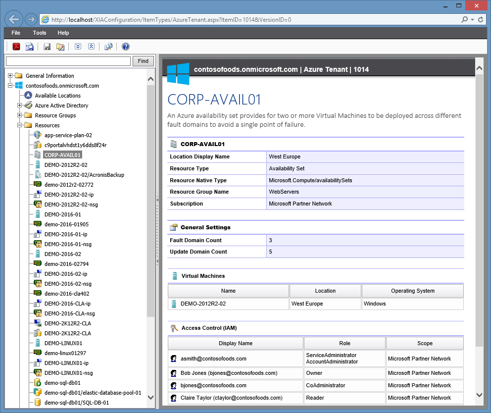 Screenshot of a Microsoft Azure availability set in the XIA Configuration web interface