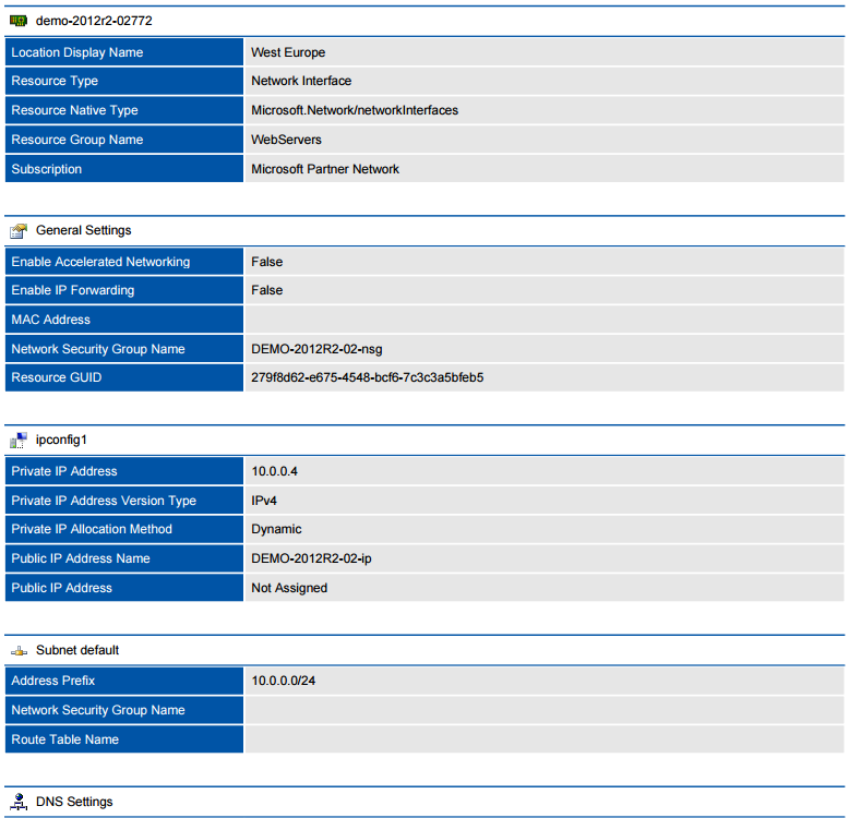 Screenshot of a Microsoft Azure network interface in a document generated by XIA Configuration