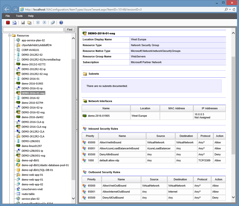 Screenshot of a Microsoft Azure network security group in the XIA Configuration web interface