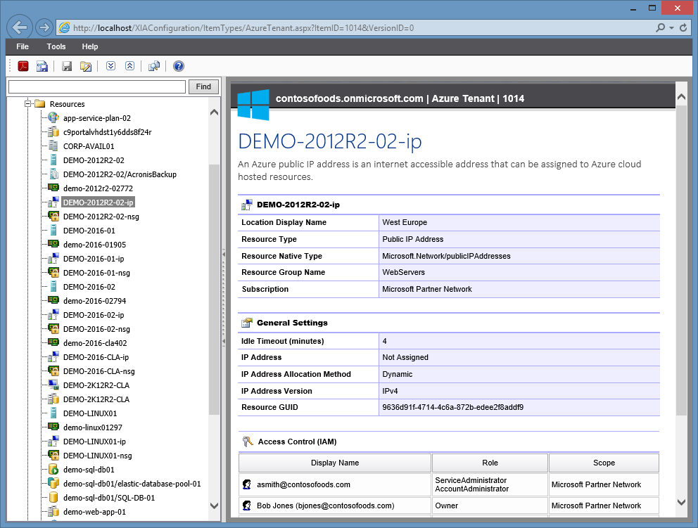 Screenshot of a Microsoft Azure public IP address in the XIA Configuration web interface