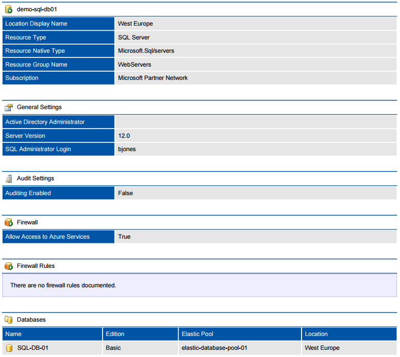 Screenshot of a Microsoft Azure SQL server in a document generated by XIA Configuration