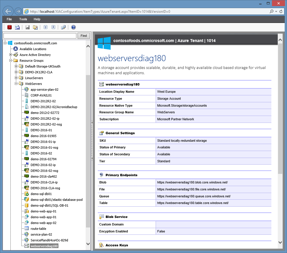 Screenshot of a Microsoft Azure storage account in the XIA Configuration web interface