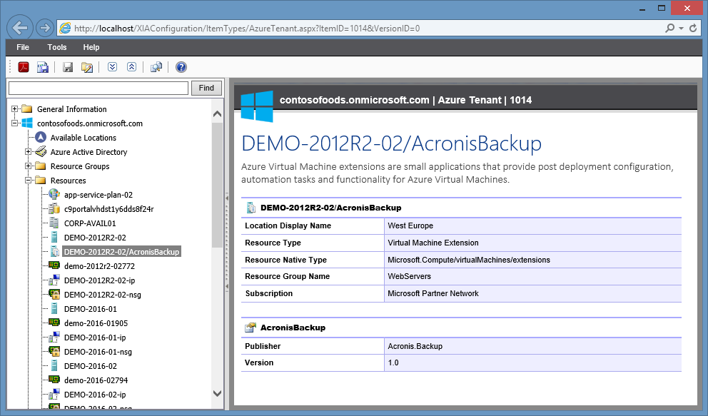 Screenshot of a Microsoft Azure virtual machine extension in the XIA Configuration web interface