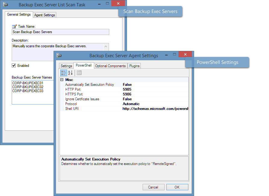 Screenshot of the Backup Exec task in the XIA Configuration Client