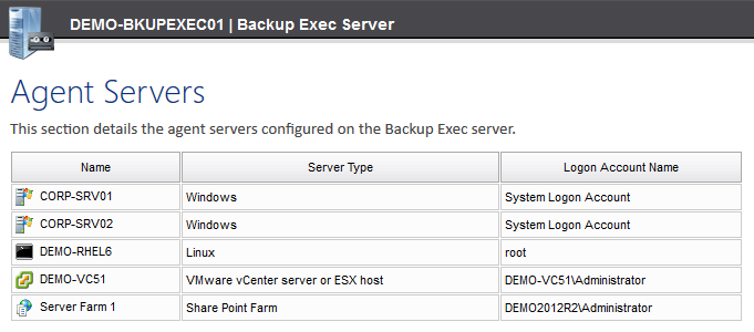 Screenshot of Backup Exec agent servers in the XIA Configuration web interface