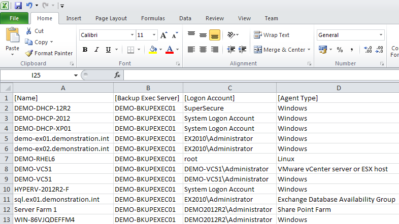 Backup Exec agent servers report viewed in Excel
