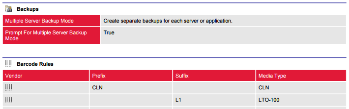 Screenshot of Backup Exec backup settings and barcode rules in a document generated by XIA Configuration