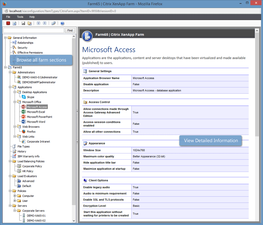 Screenshot showing published application details in the XIA Configuration web interface
