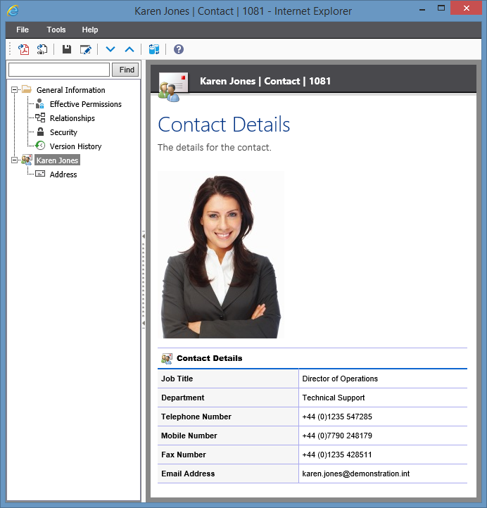 Screenshot showing contact information in the XIA Configuration web interface