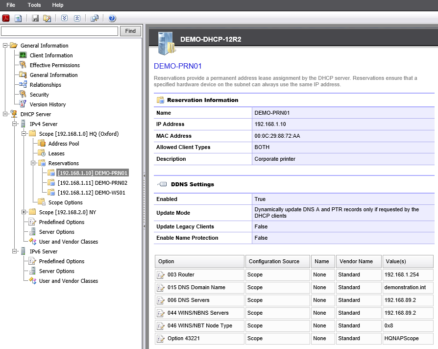 Screenshot showing reservation details in the XIA Configuration web interface