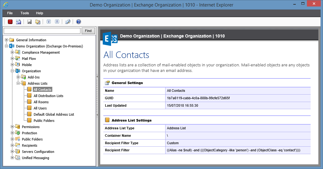 Screenshot of Address List settings in the XIA Configuration web interface