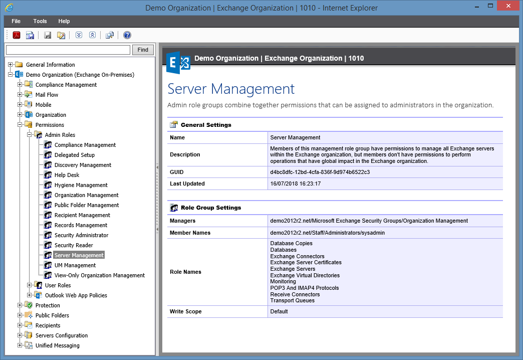 Screenshot of Admin Role settings in the XIA Configuration web interface