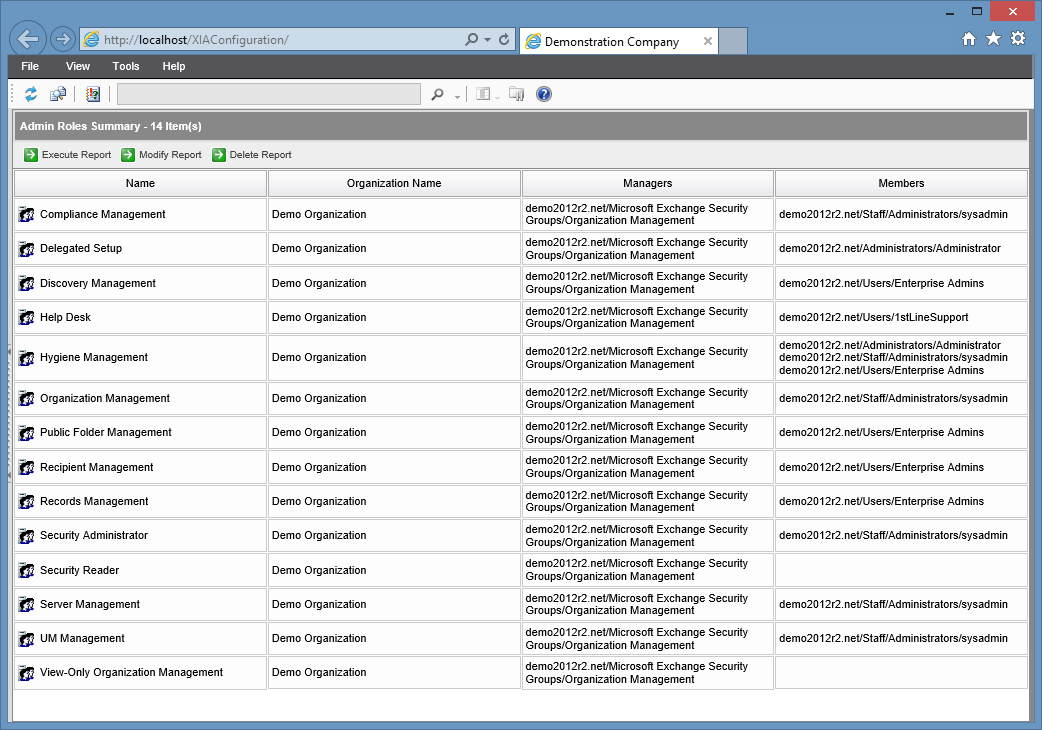 Screenshot of the Admin Roles Summary report in the XIA Configuration web interface