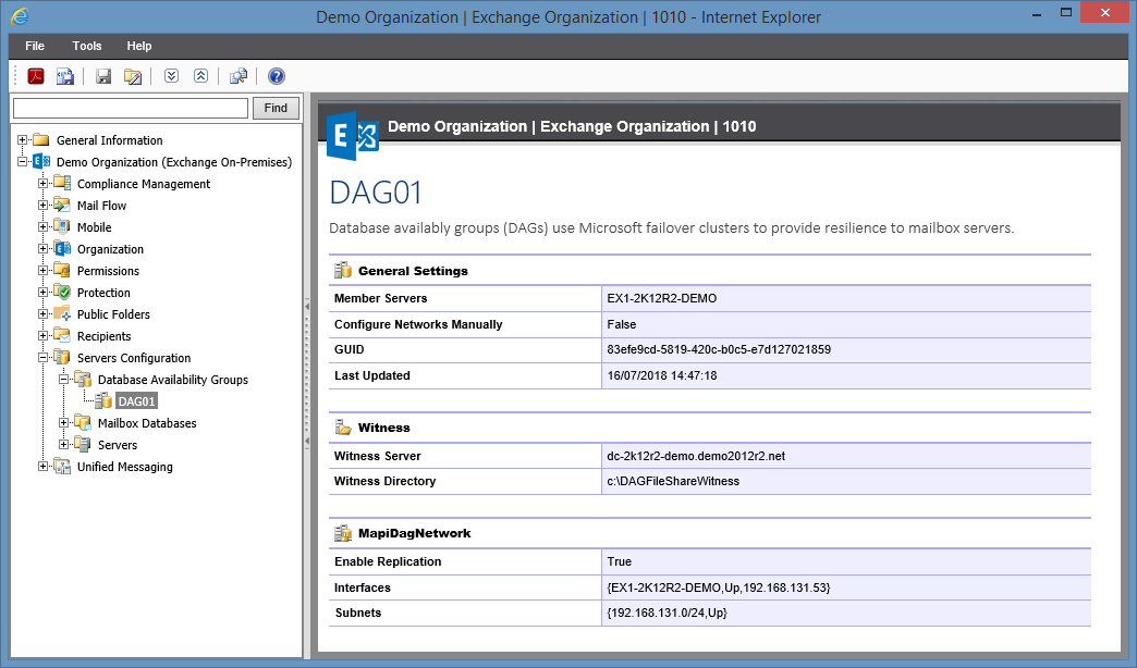 Screenshot of Database Availability Group settings in the XIA Configuration web interface