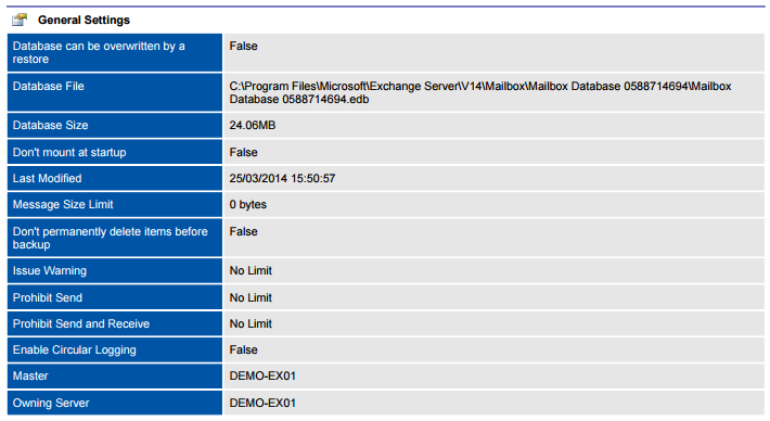 Screenshot of database settings in a document generated by XIA Configuration