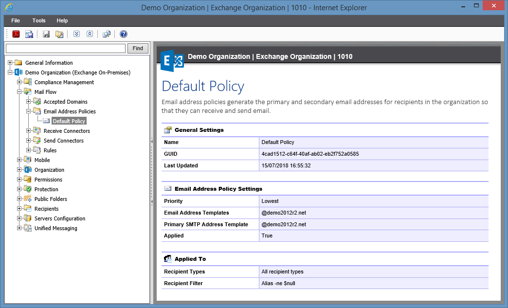 Screenshot of Email Address Policy settings in the XIA Configuration web interface