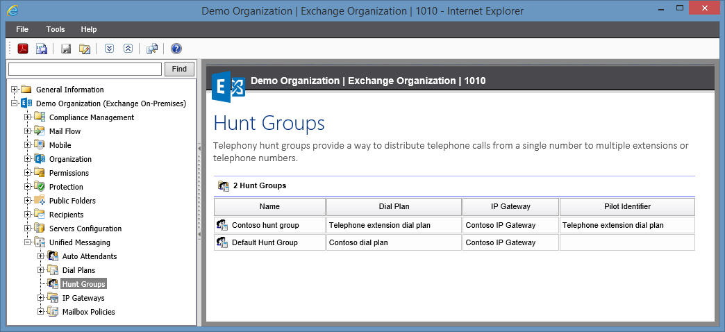 Screenshot of Hunt Groups in the XIA Configuration web interface