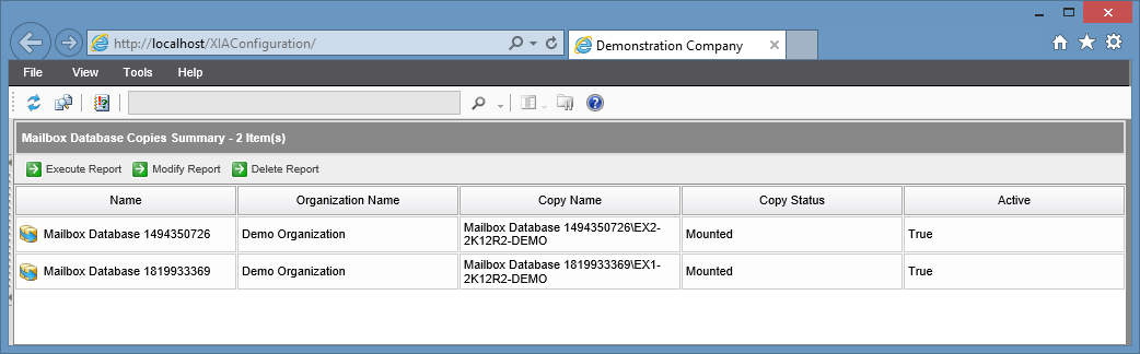 Screenshot of the Mailbox Database Copies Summary report in the XIA Configuration web interface