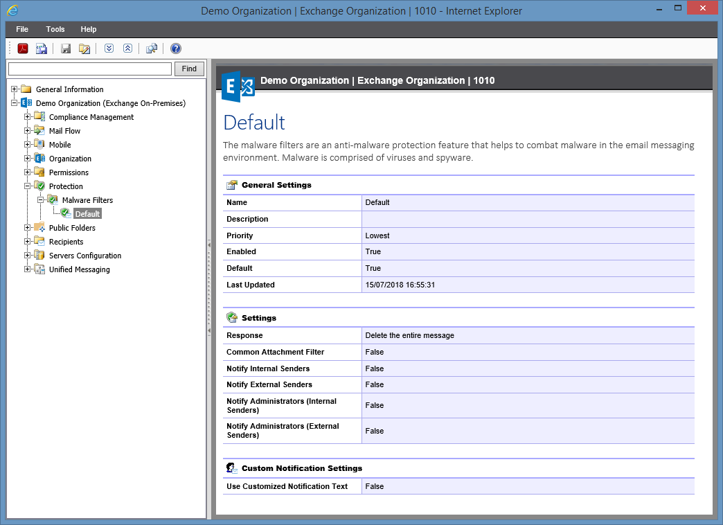 Screenshot of Malware Filter settings in the XIA Configuration web interface