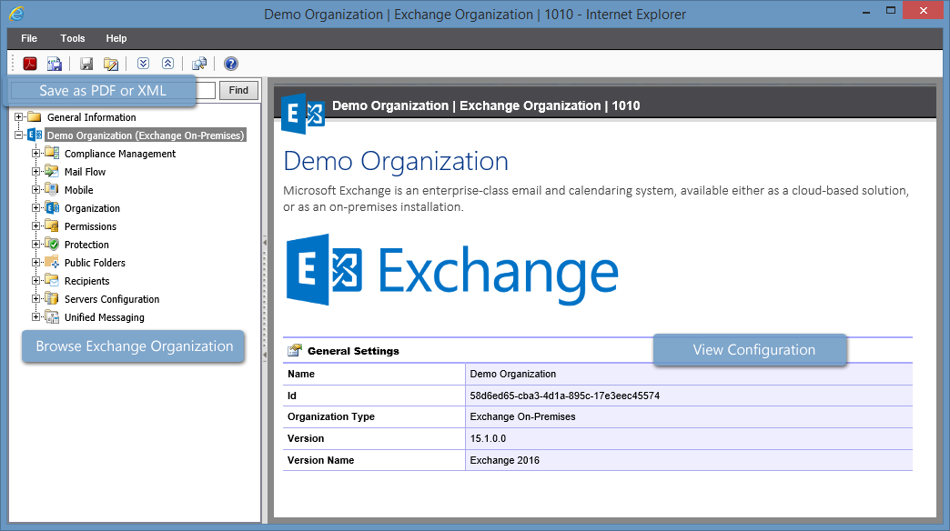 Screenshot of the Exchange Organization summary in the XIA Configuration web interface