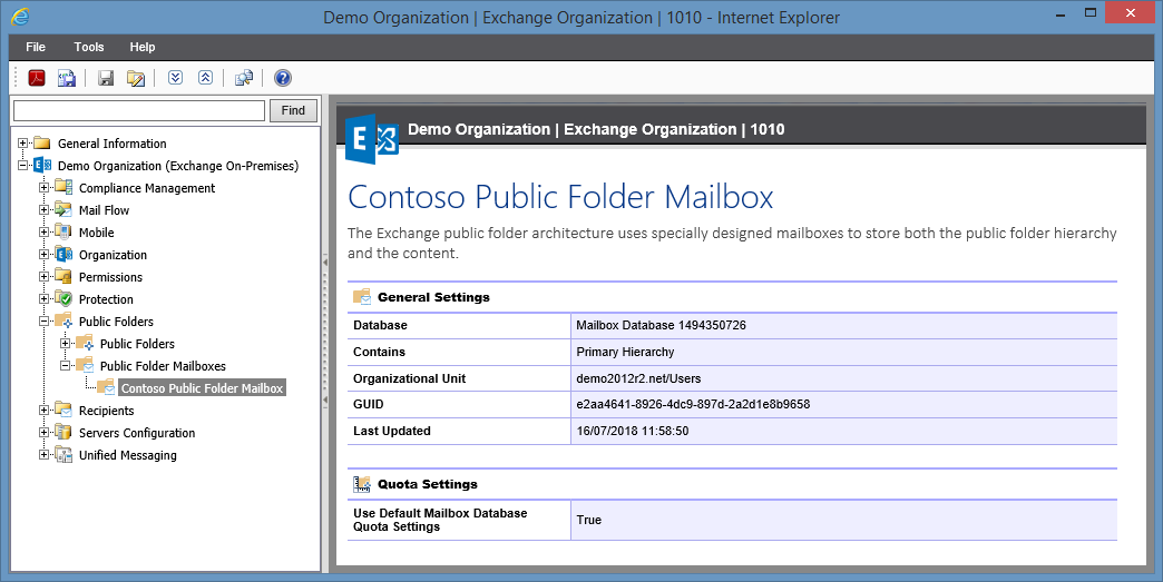 Screenshot of Public Folder Mailbox settings in the XIA Configuration web interface