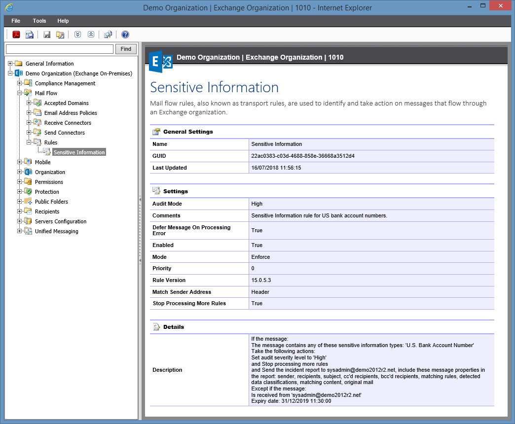 Screenshot of Rules settings in the XIA Configuration web interface