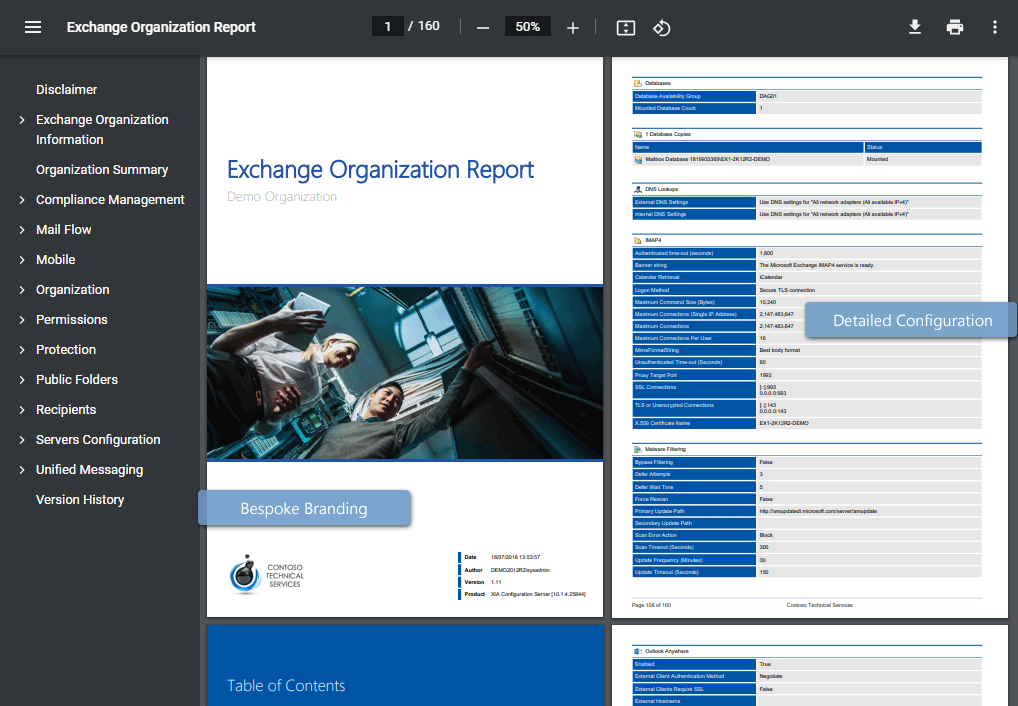 Microsoft Exchange documentation example generated by XIA Configuration