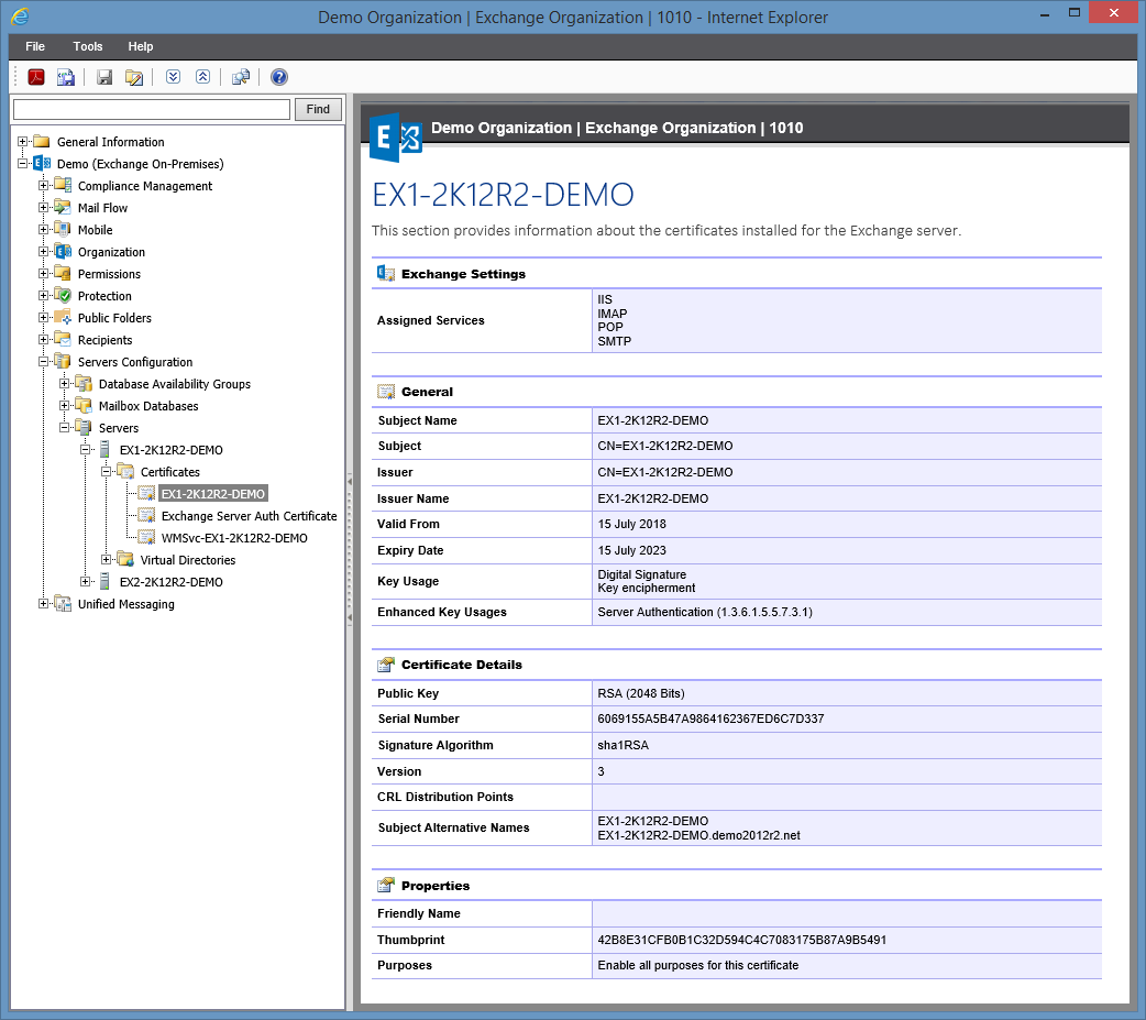 Screenshot of certficates in the XIA Configuration web interface