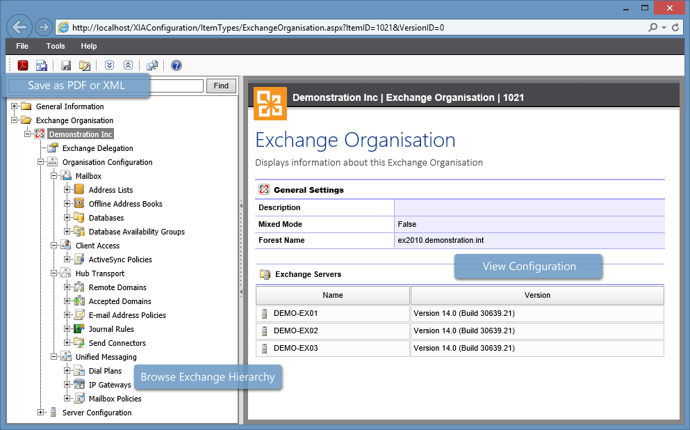 Screenshot showing Microsoft Exchange server configuration and navigation tree in the XIA Configuration web interface