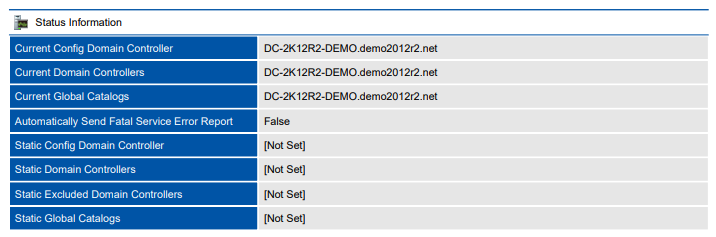 Screenshot of status information in a document generated by XIA Configuration